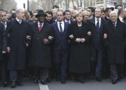 François Hollande e Mahmoudf Abbas, Ângela Merkele Benjamin Netanyahu.